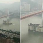 In a new bizarre video that has gone viral, a building can be seen floating down Yangtze River in China.